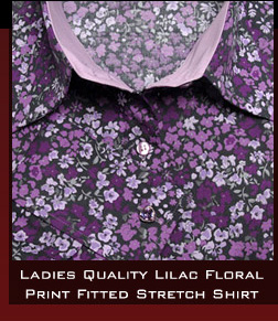 Ladies Quality Lilac Floral Print Fitted Stretch Shirt