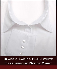 Classic Ladies Plain White Herringbone Office Shirt