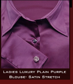 Ladies Luxury Plain Purple Blouse- Satin Stretch