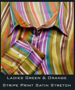 Ladies Green & Orange Stripe Print Satin Stretch Shirt