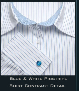 Ladies Blue & White Pinstripe Fitted Shirt Contrast Detail