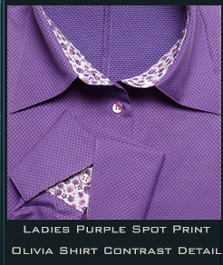 Ladies Purple Spot Print Olivia Shirt Contrast Detail